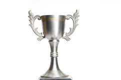 Chapeau argenté de trophée sur le blanc Photo stock