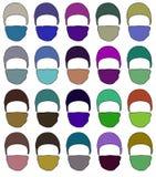 Chapeau avec un masque dans différentes couleurs trame de gare Image libre de droits