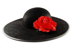 Chapeau avec une rose Images stock