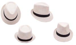 Chapeau beige sur le fond blanc d'isolement Photographie stock