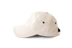 Chapeau blanc de chapeau de plan rapproché sur le fond blanc Images stock