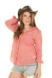 Chapeau blanc rouge de chemise de cow-girl sur la tête Photo stock