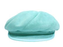 Chapeau bleu de dames au-dessus du fond blanc Image libre de droits