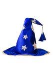 Chapeau bleu de magicien avec les étoiles argentées, capuchon d'isolement Image libre de droits