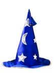 Chapeau bleu de magicien avec les étoiles argentées, capuchon d'isolement Photographie stock