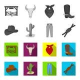 Chapeau, cactus, jeans, noeud sur le lasso Icônes réglées de collection de rodéo en stock monochrome et plat de symbole de vecteu Photos libres de droits