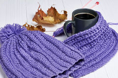 Chapeau chaud, écharpe et boisson chaude photographie stock libre de droits