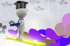 chapeau d'éducation de l'homme 3d sur l'illustration de flèche Photos libres de droits