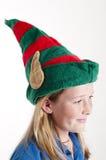 Chapeau d'elfe sur la fille Images libres de droits