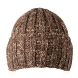 Chapeau d'isolement sur le fond blanc chapeau tricoté Chapeau de Brown Image libre de droits