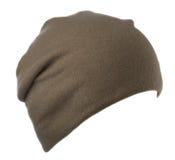 Chapeau d'isolement sur le fond blanc chapeau tricoté Chapeau de Brown Photos libres de droits