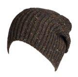Chapeau d'isolement sur le fond blanc chapeau tricoté Chapeau de Brown Photographie stock