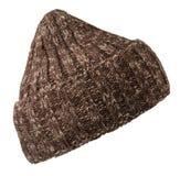 Chapeau d'isolement sur le fond blanc chapeau tricoté Chapeau de Brown Photo libre de droits