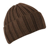 Chapeau d'isolement sur le fond blanc chapeau tricoté Chapeau de Brown Images libres de droits