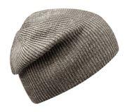 Chapeau d'isolement sur le fond blanc chapeau tricoté Chapeau gris Photographie stock