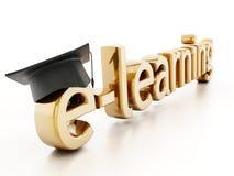 Chapeau d'obtention du diplôme sur la lettre e du mot d'apprentissage en ligne illustration 3D Images stock