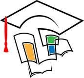 Chapeau d'obtention du diplôme avec des livres illustration de vecteur