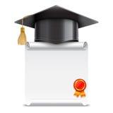 Chapeau d'obtention du diplôme et rouleau de diplôme illustration stock