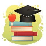 Chapeau d'obtention du diplôme, livres et isolat traditionnels de pomme illustration stock