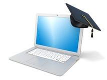 Chapeau d'obtention du diplôme sur l'ordinateur portable Concept d'apprentissage sur internet 3d rendent Images stock