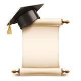 Chapeau d'obtention du diplôme sur le rouleau de diplôme illustration stock