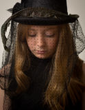Chapeau d'équitation de Ginger Teenage Girl In Victorian Images stock