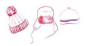 Chapeau d'Ushanka, chapeau tricoté, chapeau avec le pompon Illustration tirée par la main de croquis de crayon D'isolement sur le illustration de vecteur