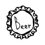 Chapeau de bouteille à bière Croquis de style de griffonnage Vecteur Photographie stock
