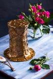 Chapeau de bronze de Steampunk sur le plateau en bois bleu Images stock