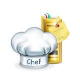 Chapeau de chef avec faire cuire le livre sur le blanc Images stock