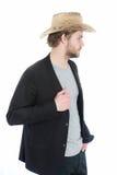 Chapeau de cowboy à disposition d'homme d'affaires heureux dans la veste de costume Photos libres de droits