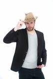 Chapeau de cowboy à disposition d'homme d'affaires heureux dans la veste de costume Image libre de droits