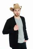 Chapeau de cowboy américain à disposition d'homme d'affaires Photographie stock
