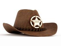 Chapeau de cowboy avec l'insigne de shérif illustration stock