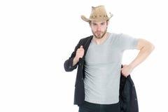 Chapeau de cowboy de port d'homme d'affaires ou de jeune homme et veste noire Photos stock