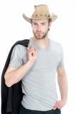 Chapeau de cowboy de port d'homme d'affaires ou de jeune homme et veste noire Image stock