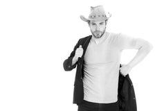 Chapeau de cowboy de port d'homme d'affaires ou de jeune homme et veste noire Photo libre de droits
