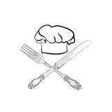 Chapeau de cuisinier de chef avec le label de croquis de dessin de main de fo - Couteau de chef cuisinier ...