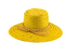 Chapeau de dame d'été d'isolement sur le blanc Image stock