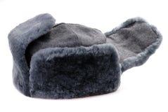 Chapeau de fourrure russe avec des oreille-ailerons d'isolement Image stock