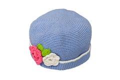 Chapeau de laine bleu de knit Images stock