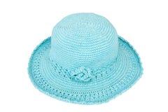 Chapeau de laine bleu de knit Photographie stock