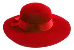 Chapeau de luxe de rouge de femmes Images libres de droits