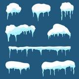 Chapeau de neige, ensemble de calotte glaciaire Éléments de conception de congères et de glaçons sur le fond illustration de vecteur