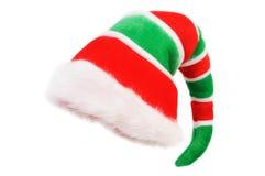Chapeau de Noël Elf Au-dessus du blanc Photographie stock libre de droits