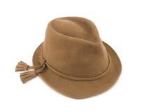 Chapeau de paille de Brown d'isolement sur le chemin de coupure blanc de fond photo libre de droits