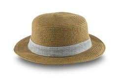 Chapeau de paille de Brown d'isolement sur le fond blanc Photo libre de droits