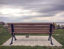 Chapeau de paille du ` s de femmes accrochant sur le banc et les chaussures de parc en bois près de lui Photographie stock libre de droits