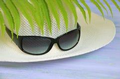 Chapeau de paille et lunettes de soleil photos libres de droits