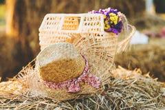 Chapeau de paille et panier Images stock